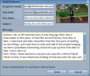 Interface of the email dialog for snapshots.